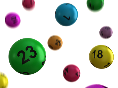 Colourful lotto balls bouncing on a white background