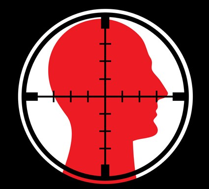 hitman target in red and black