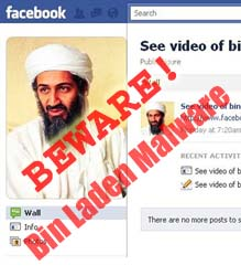 "A face book page for Bin Laden with the word ""Scam"" written across it in red."