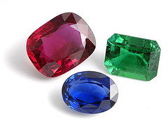 Three jewels; a ruby, an emerald and a sapphire
