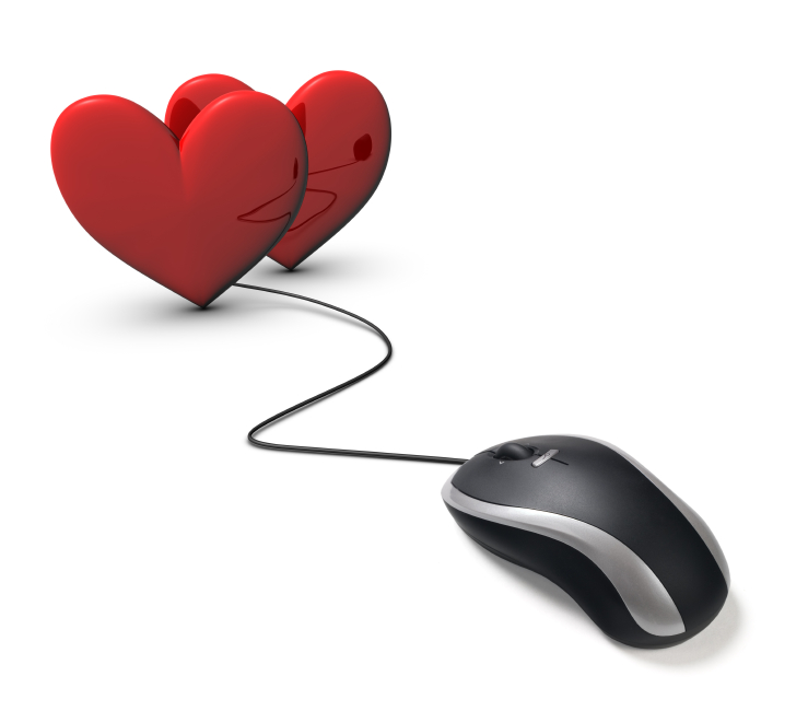 two red love hearts with computer mouse