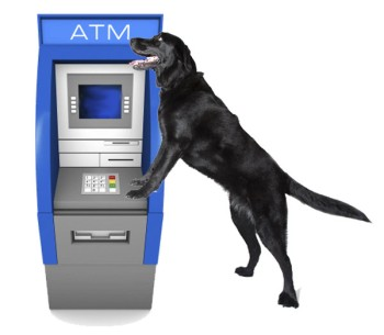 Jet standing at an ATM