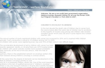 A screen shot of the Nations welfare foundation scam website