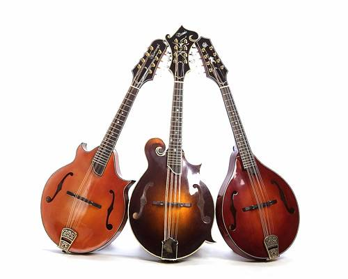 3 wooden mandolins on a white background