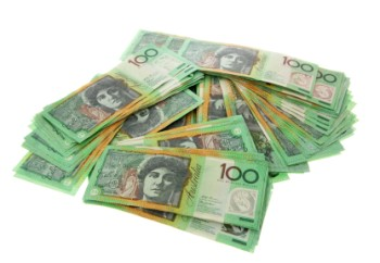 A big pile of australian 100 dollar notes