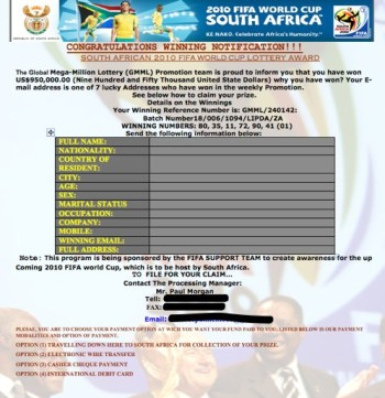 An example of a page from the FIFA scam with pictures of the south African Flag and Athletes as well as the FIFA logo