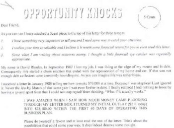 "An example of an ""opportunity knocks"" scam email"