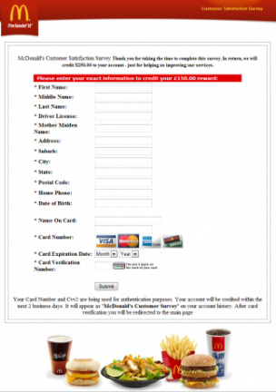 A picture of the McDonalds Phishing Scam form in color with the McDonalds official logo