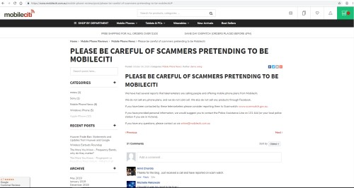 screenshot of mobileciti web page warning customers against scammers