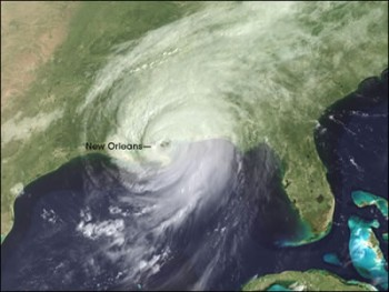 An aerial photograph of hurricane Katrina