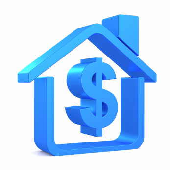 A blue house outline with a dollar sign in ita