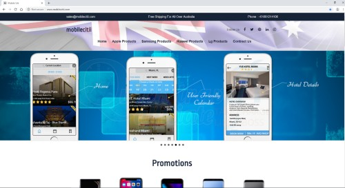 image of fake Mobilecitti website landing page with 3 mobile phones