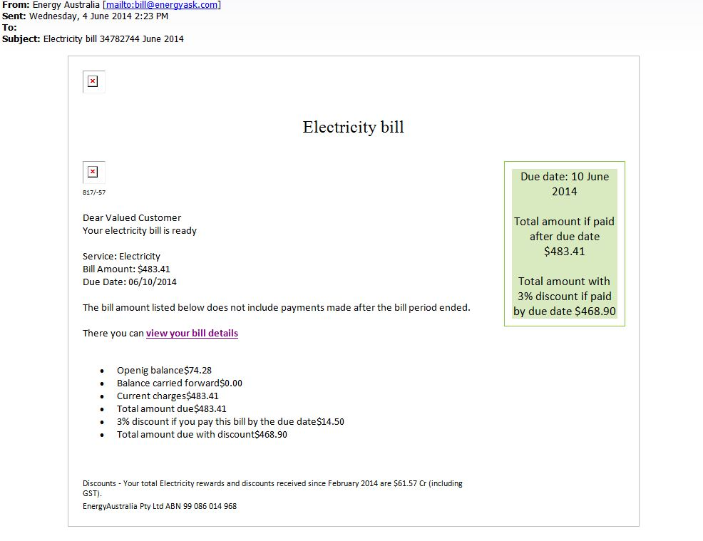 Bogus electricity bill email phishing scam