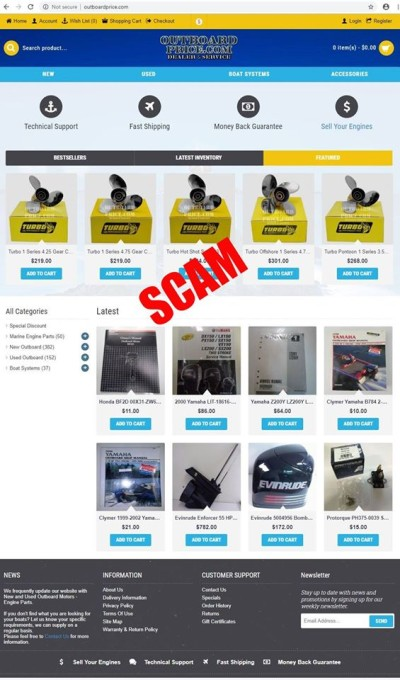 home page of fake outboard motors website