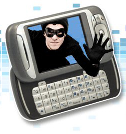 A crook climbing out of a phone