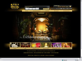 A screenshot of the Grand Sands scam website with an image of the lobby of a hotel.