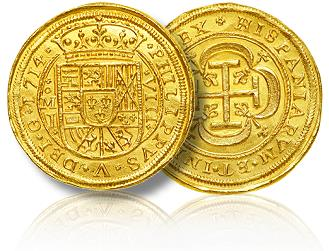 Two gold Spanish coins on a white background