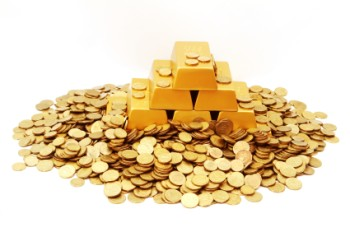 A pile of gold coins and gold bars on a white background