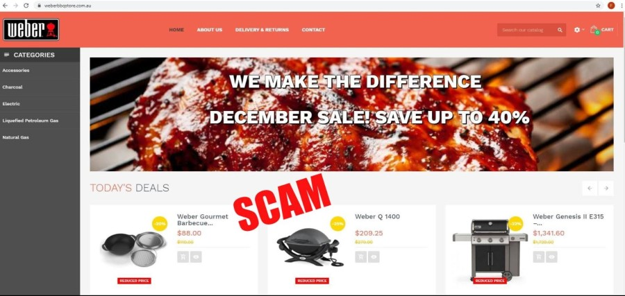 screen shot of fake Weber bbq web page