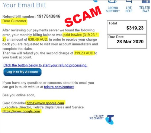 image of scam Telstra bill email