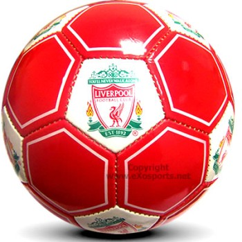 A soccer ball with Liverpool football branding on it