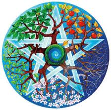 A pentagram with trees showing different seasons wound into it