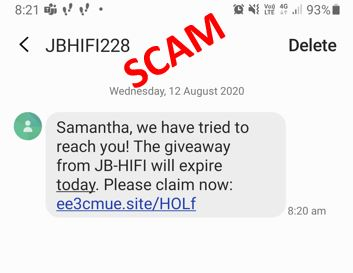 screen shot of fake JB HiFi text message