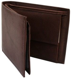 A brown leather wallet open and empty on a white background