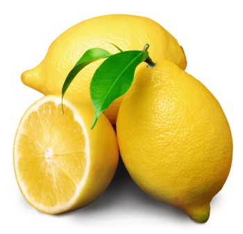 3 lemons on a white background