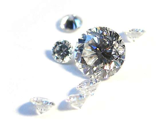 A scattering of diamonds on a white background