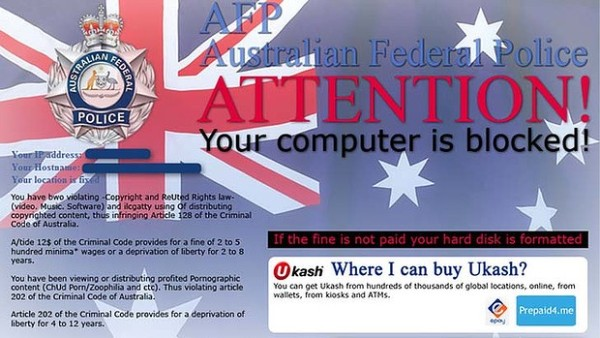 A screen shot of the AFP malware scam