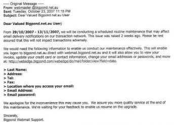 an example of a bigpond scam email
