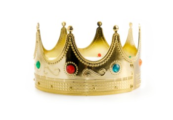 A gold classic style crown with embedded jewels